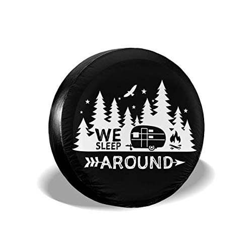 Per Gull We Sleep Around Spare Tire Cover Camping Waterproof Dust-Proof Universal Spare Wheel Tire Protector for Jeep Trailer RV Camper SUV Truck and Many Vehicles 14 Inch