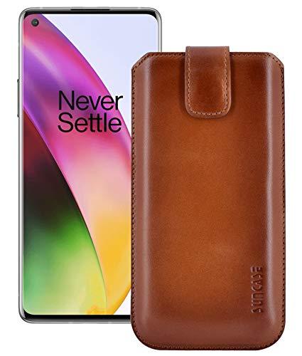 Suncase OnePlus 8 Leren tas rugzak, gebrand cognac