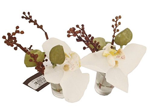 Sia Home Fashions Décor Permanent Botanicals Orchid Bouquet in Vase, Mini, White, Box of 6