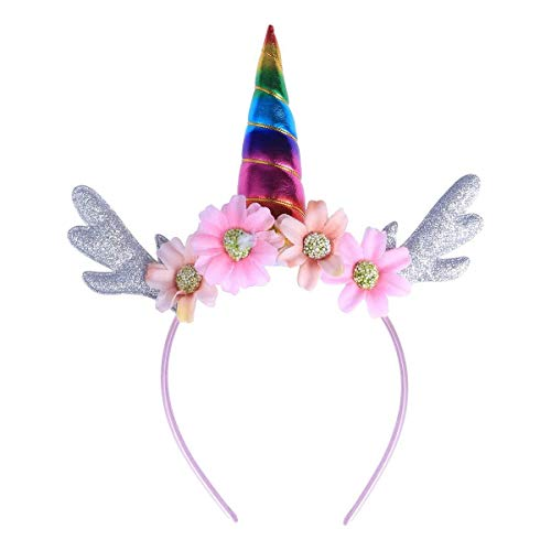Meisjes Vintage Haaraccessoires Hoofdband met Glitter Bloem Haarbanden Kinderen Cosplay Haar Hoop Verjaardag Feestartikelen (Kleurrijk) voor Mode Retro Elegante Dames