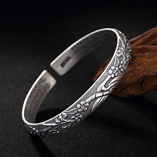 Yarmy Armband Silber,S999 Sterlingsilber Frauen Kunst Retro-geprägte Pflaume Armband Geschenk für Familie oder Freunde