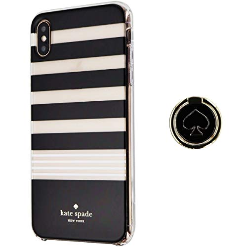 Kate Spade New York Phone Case | for Apple iPhone Xs MAX | Protective Hardshell Phone Cases with Slim Design, and Black/Stripe/White (XS MAX)