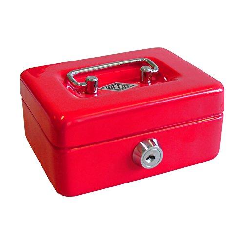 Wedo 144002 Kindergeldkassette Spardose (mit Einwurfschlitz, 5-Fächer-Münzeinsatz, Sicherheitsschloss, aus Stahlblech, 2 Schlüssel) rot