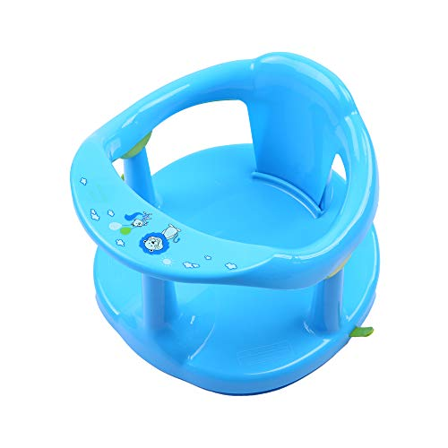 Lucakuins Newborn Infant Baby Bath Seat, Non-Slip Infants Baby Bath Chair for Bathtub, Cute Shape Baby Shower Chairs for Tub Sitting up, Surround Bathroom Seats for Baby 6-18 Months (Blue)
