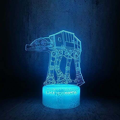 Luz de ilusión 3D luz de noche LED robot para caminar perro Star Wars futuro coche espacial lámpara de mesa de color mejor regalo de vacaciones de cumpleaños para niños