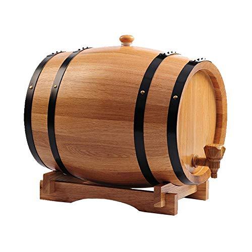 yunyu Barril de envejecimiento de Whisky de Roble - 20L Práctico y Duradero dispensador de Barril de Vino de Madera de Roble Vintage con Soporte de Madera, para Whisky Bourbon Tequila (B)