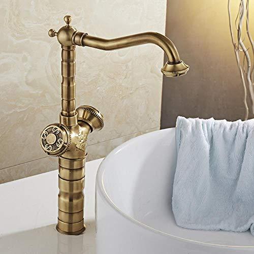 Cuenca Grifos de bronce antiguo de latón grifo del fregadero de la cocina Cuarto de baño WC Monte la cubierta del mezclador agua caliente y fría Grifos Grifos WC WF-18005, bronce