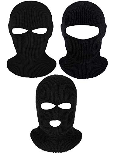 3 Pieces Knit Full Face Cover Winter Balaclava Face Mask Thermal Ski Mask for Adult