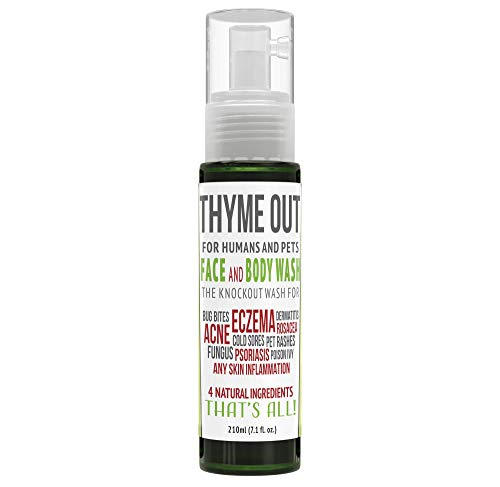 Thyme Out All-Natural Face Wash (210ml) - Organic Body Wash for Acne, Eczema, Poison Ivy and Psoriasis - Soothe Itch, Inflammation and Irritation - Convenient Foam Formula for Easy Application