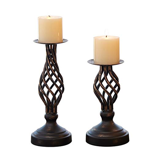 Afairy Decorative Candle Holder Set of 2 Metal Pillar Romantic Candlesticks, Home Decor Candle Stand, for Fireplace, Living Or Table Decoration (Color : Brown)