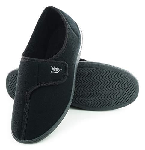 EUROPEAN SOFTEST EuropeanSoftest Men's 80-D Memory Foam Adjustable Closure On Slipper Breathable Washable Indoor/Outdoor House Shoe w/Anti Slip Sole (Medium 9-10 B(M) US Men, Black)