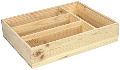 LAUBLUST - Besteckkasten mit 4 Fächern zur Aufbewahrung - Kiefer Unbehandelt ca. 31 x 25 x 7 cm - Massivholz