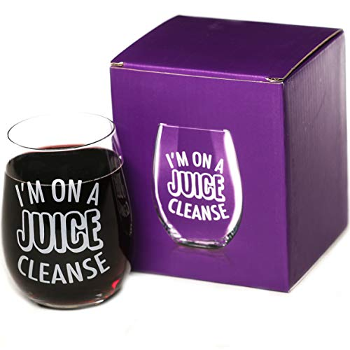 I'm On A Juice Cleanse 15 oz Stemless Funny Wine Glass | Unique Birthday Gifts for Men or Women | Funny Gifts for Him or Her Idea for Office Coworker and Best Friend