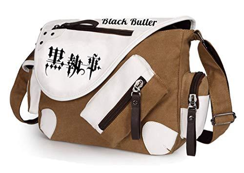 WANHONGYUE Black Butler Anime Messenger Bag Canvas Umhängetasche Kuriertasche Schultertasche für Reise Arbeit und Schule Braun / 2