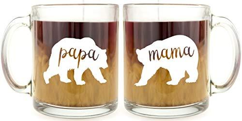Mama Bear & Papa Bear - Glass Coffee Mug Set - Makes a Great Gift Under $25 for Mom & Dad!