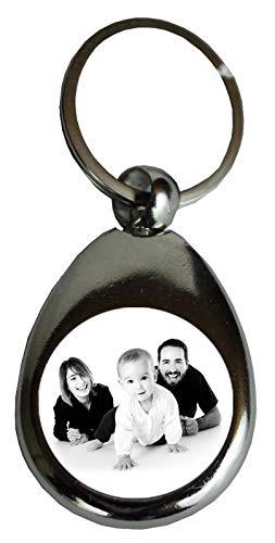 Personalisierter Schlüsselanhänger mit Foto | Geschenk, Glücksbringer, Weihnachten, Geburtstaggeschenk, Neujahr Weihnachten | Metall, Silber, mit Einkaufschip