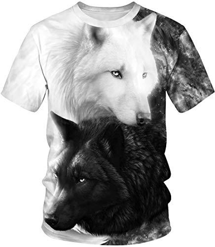EUDOLAH Herren T-Shirts 3D Druck Bunt Galaxy Sport Rundhals Schmale Passform Motiv Tops A-Schwarz und Weiß Wölfe S