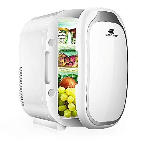 EZGETOP 8L 2 in 1 Minikühlschrank Tragbare 220V/12V für Hautpflege und Kosmetik Lebensmittel Obst Gemüse Getränke Cool Warm Frisch, 8 Dosen 330 ml/4 Flaschen 600 ml Auto und Haushalt