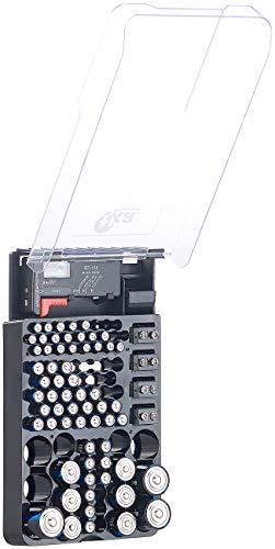 tka Köbele Akkutechnik Batteriebox: 2in1-Batterie-Organizer für 93 Batterien, mit Batterie-Tester (Akkubox)