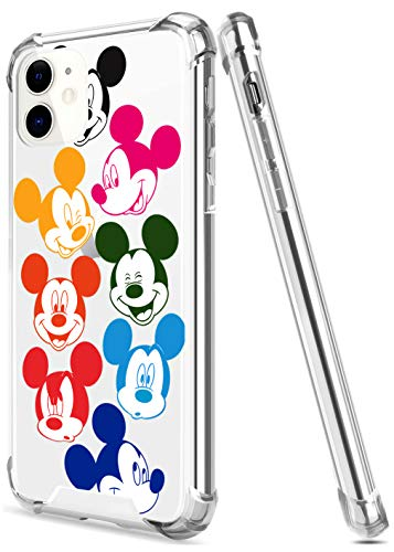 Crystal Clear iPhone 11 Case with 4 Corners Shockproof Protection,Cute Cartoon Design Soft TPU Bumper and Anti-Scratch PC Back Protective Cover Cases for Men and Women (Colourful-Mickey)