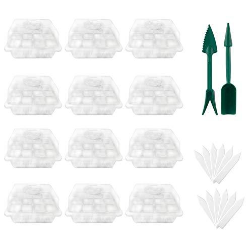 TinaDeer 12 Stück Zimmergewächshaus Anzuchtkasten Gewächshaus Anzuchtset Anzucht Set Treibhaus Anzuchtschale mit Deckel und Belüftung, 12 x Pflanzenetikett, 2 x kleine Gartengeräte (Weiß)