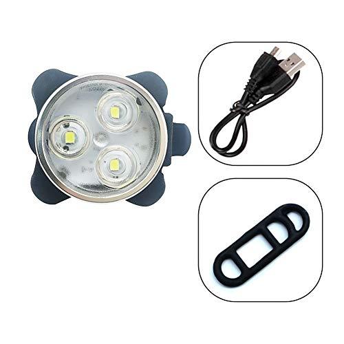 HXIANG 4 Modes fietslicht ingebouwde batterij oplaadbare USB LED fiets licht zaklamp met Mount fietsaccessoires (Color : White)