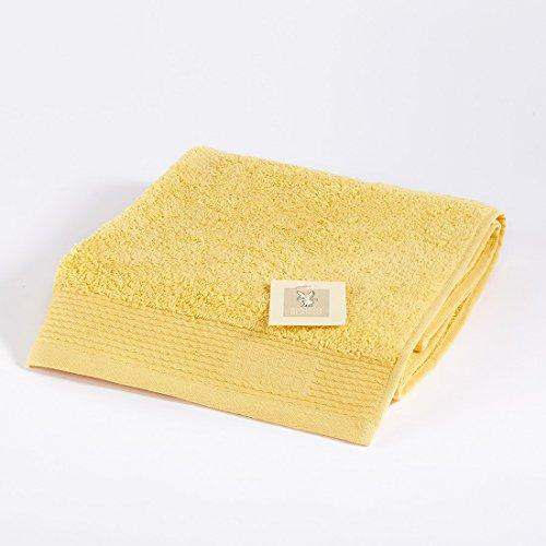 Burrito Blanco Toalla de Mano/Toalla de Lavabo Lisa de Rizo Suave Algodón 100% de 50x100 cm, Color Amarillo ✅