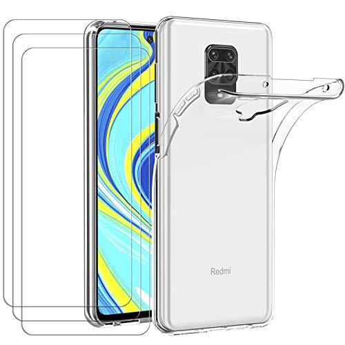 ivoler Funda para Xiaomi Redmi Note 9S / Xiaomi Redmi Note 9 Pro + 3X Cristal Templado, Transparente TPU Silicona Anti-Choque [Carcasa + Vidrio Templado] Ultra Fina Protector de Pantalla y Caso