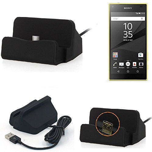 K-S-Trade Dockingstation Für Sony Xperia Z5 Compact Docking Station Micro USB Tisch Lade Dock Ladegerät Charger Inkl. Kabel Zum Laden Und Synchronisieren, Schwarz