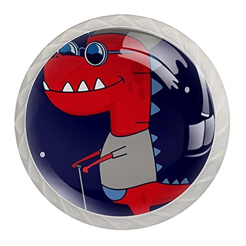 LUPIN Paquete de 4 pomos para gabinete con diseño de dinosaurios de dibujos animados montando a un scooter de colores, tiradores de cajones