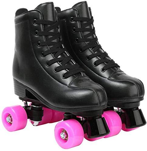 Xbshmw Rollschuhe Disco Roller für Damen, Zweireihige Skates für Erwachsene, mit 58 mm Rosa Rädern, Quad Skates für Drinnen und Draußen,Schwarz,38