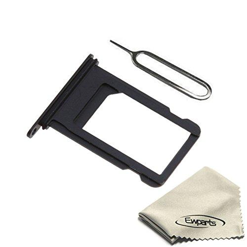 EWPARTSDE Ewparts für iPhone 7 4.7 Zoll SIM Karten Tray Slot Halter Ersatz, mit Wasserdichten Siegel Gummi Ring+ Nadel (Black)