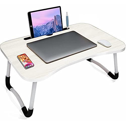 arvioo Tavolino da Letto Tavolino per Laptop Pieghevole Portatile Tavolo per Laptop Supporto PC con Gambe Pieghevoli per Letto/Divano/Scrivania/Pavimento (con Slot, Bianco)