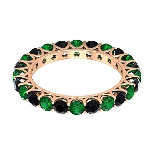 Set di anelli eternity da 2,64 ct, con spinello nero certificato, 3 mm, con pietre preziose alternative, per anniversari, da donna, anelli nuziali, 14K Oro rosa, Size:EU 49