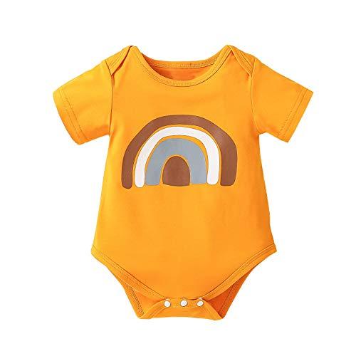 Body para bebé con diseño de arcoíris, manga corta para niños y niñas, algodón, cuello redondo, suelto, para verano, fácil de poner y quitar. amarillo 0-3 Meses