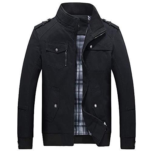 Aoogo Herren Zipper Große Größen Coat Freizeitjacke Männer Jacke Winter Warme Übergangsjacke Mantel Outwear Slim Trenchcoat Long Trench