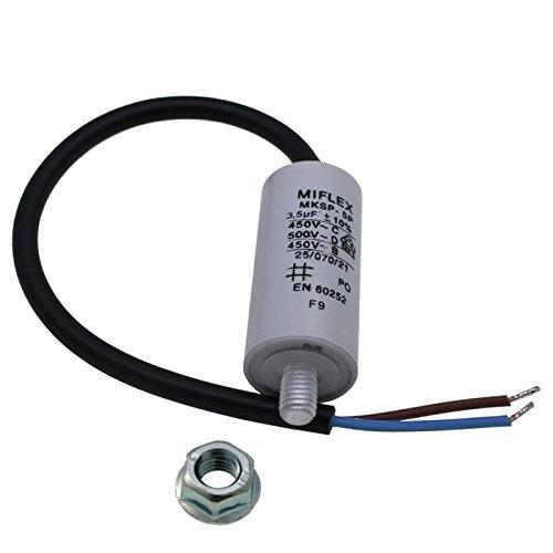 AnlaufKondensator MotorKondensator 3,5µF 450V 25x53mm Leitung M8 ; Miflex 3,5uF