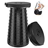 VpnDiyp Portable Telescoping Stool Collapsible Stool Upgrade 3.0 Lightweight Sturdy with Load Capacity 550lbs Nylon Material Seat for Camping Travel/BBQ/Hiking/Outdoor or Indoor Activities (Black)