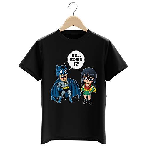 T-Shirt Enfant Garçon Noir Parodie One Piece - Batman - Batman et Robin - Une équipe de Choc !! (T-Shirt Enfant de qualité Premium de Taille 11-12 Ans - imprimé en France)