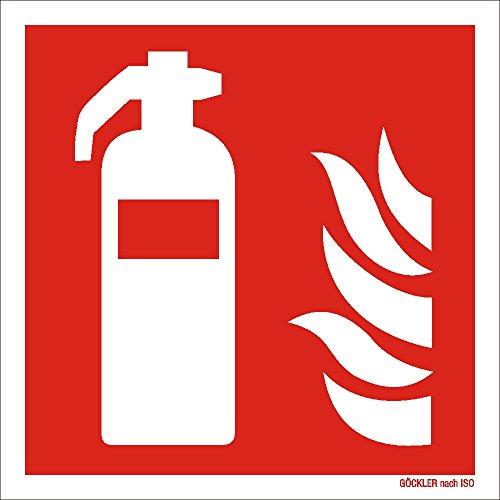 Feuerlöscher Sympol Schild | nachleuchtend | von 50 x 50 bis 300 x 300 mm | ASR ISO Brandschutzzeichen als Folie Kunststoff PVC Aluminium Winkel Fahnen nachleuchtend selbstklebend F001 Symbolschild