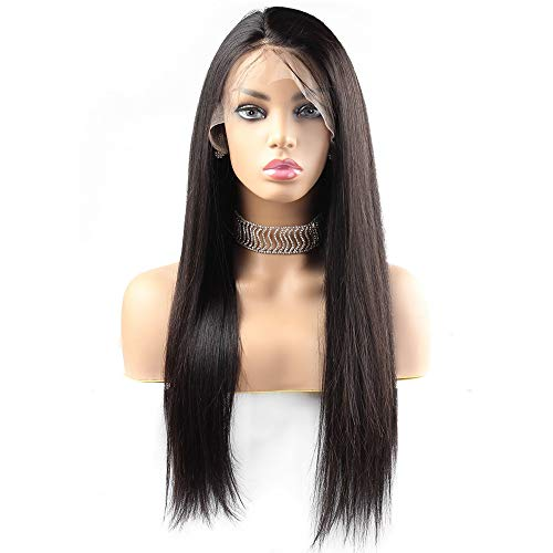 Lange rechte zwarte Human Hair Wig for Lace Gratis Part Wigs met Baby Haar for vrouwen (130% Density) (Size : 12