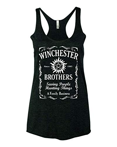 Supernatural Winchester Brothers TV Series Whiskey Style Women Tank Top - Black New (L)