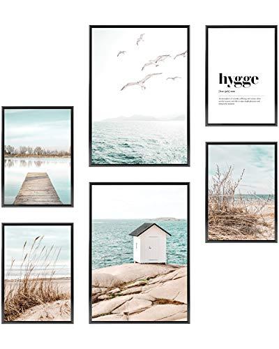 Heimlich® Premium Poster Set OHNE Bilderrahmen | Stilvolles Set mit passenden Bilder als Wohnzimmer Deko | 2 x DIN A3 & 4 x DIN A4 - ca. 30x42 & 21x30 | » Skandi Meer Strand Möwen «