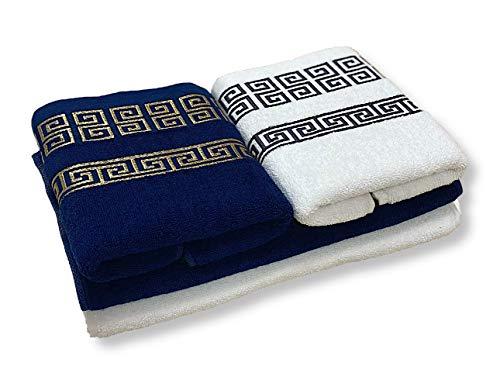 HOMEALOO Juego de 4 toallas de mano de 100% algodón, 4 piezas, color azul, dorado y blanco