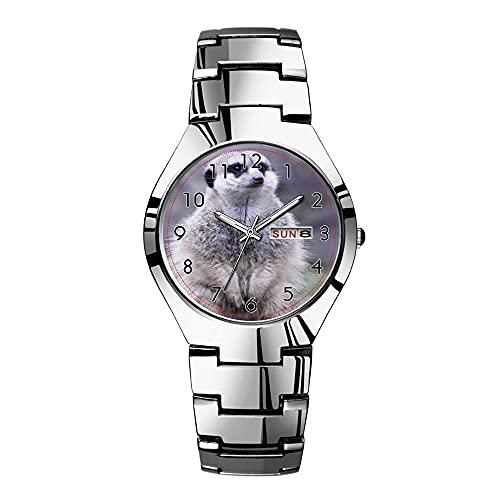Relojes para hombre de acero plateado banda superior marca impermeable Japón reloj de cuarzo Navidad hombres negocios reloj adorable cabrito cabrito