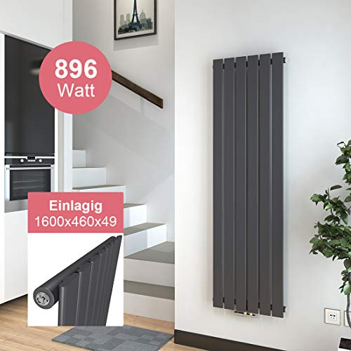 Vertikal Heizkörper Design Paneelheizkörper 1600x460mm Anthrazit Einlagig Mittelanschluss 896 Watt Heizung