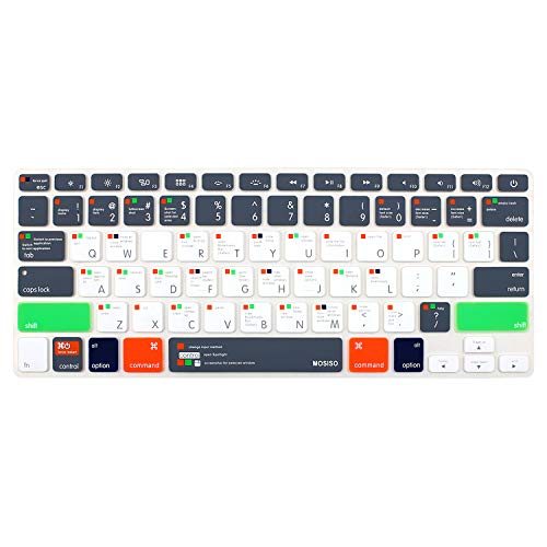 MOSISO Silicone Keyboard Cover Compatible with MacBook Air 13 inch A1466 A1369 2010-2017&Compatible with MacBook Pro 13/15 (with/Without Retina Display, 2015 or Older Version), OS X OSX-M-CC-2, Gray