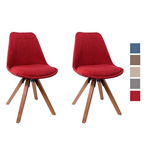 Duhome Set di 2 Sedia da Sala da Pranzo Design Retro con Cuscino Stil scandinavo con Piedini in Legno 518M, Colore:Rosso, Materiale:Velluto