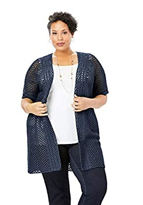 Jessica London Women's Plus Size Crochet Long Cardigan - 18/20, Navy from Jessica London