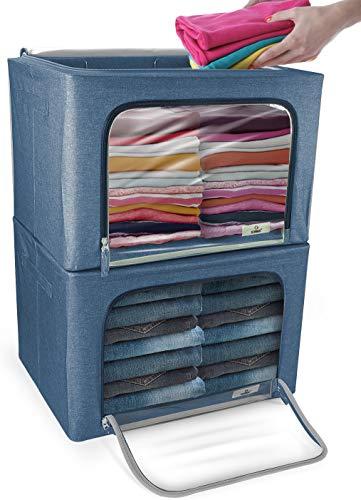 Sorbus - Juego de cubos de almacenamiento, apilables y plegables, con ventana grande y asas de transporte, organización de armario de dormitorio, ropa de cama, ropa (azul)
